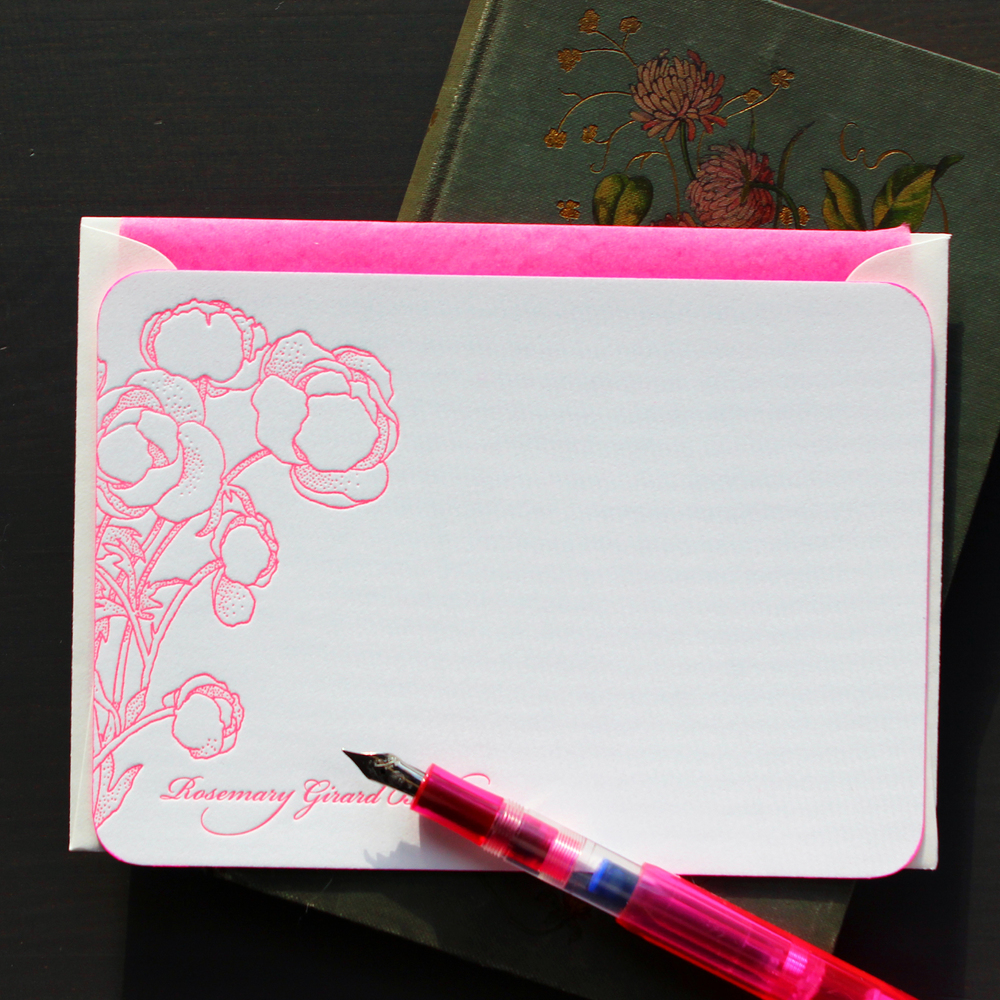 Pink Poppies Letterpres Stationery