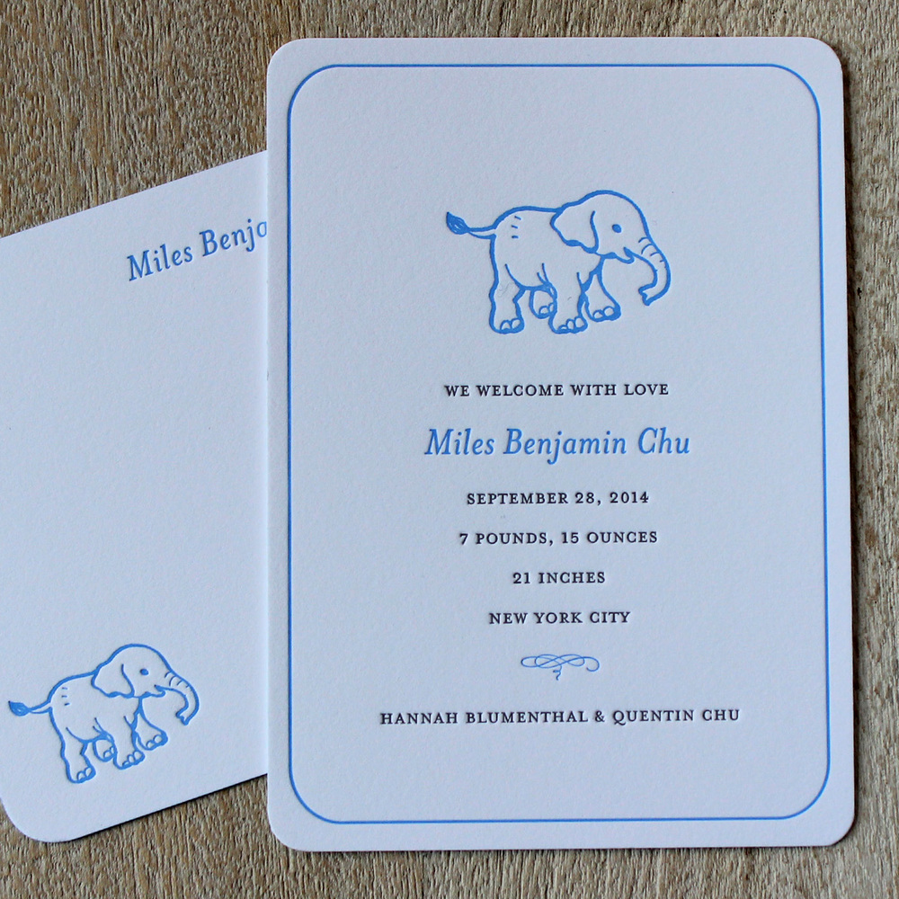 Blue Elephant Letterpress Baby Announcement
