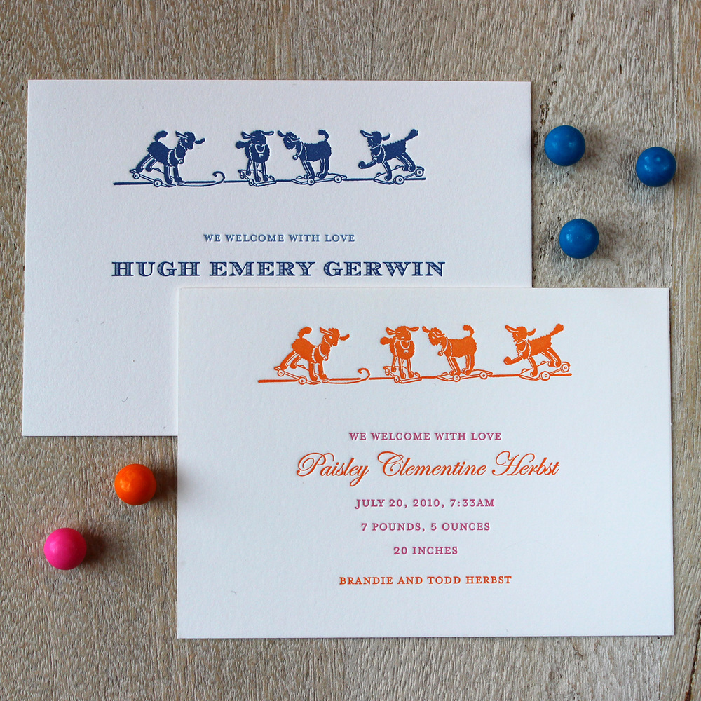 Little Lambs Letterpress Baby Announcement