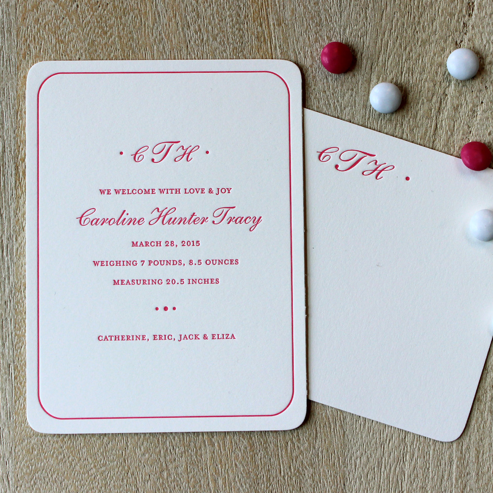 Classic Pink Monogram Letterpress Baby Announcement