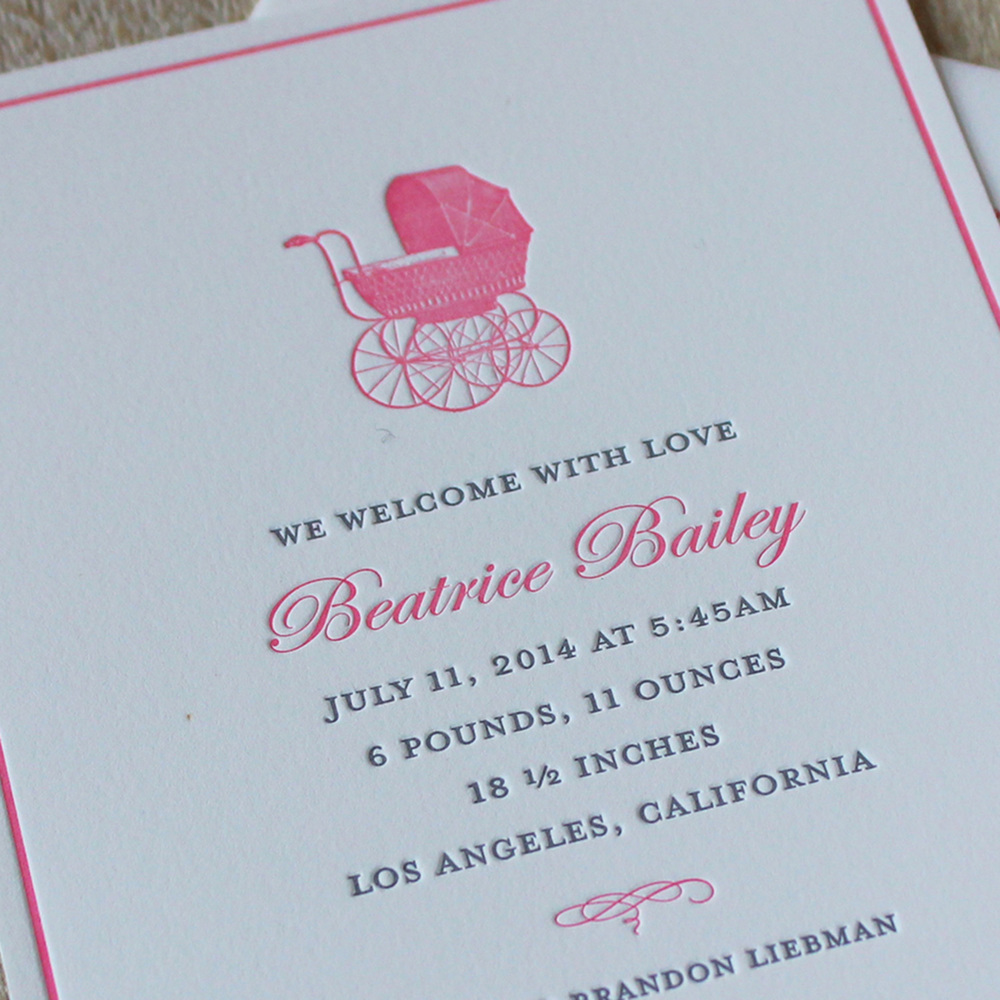 Pink Pram Letterpress Baby Announcement