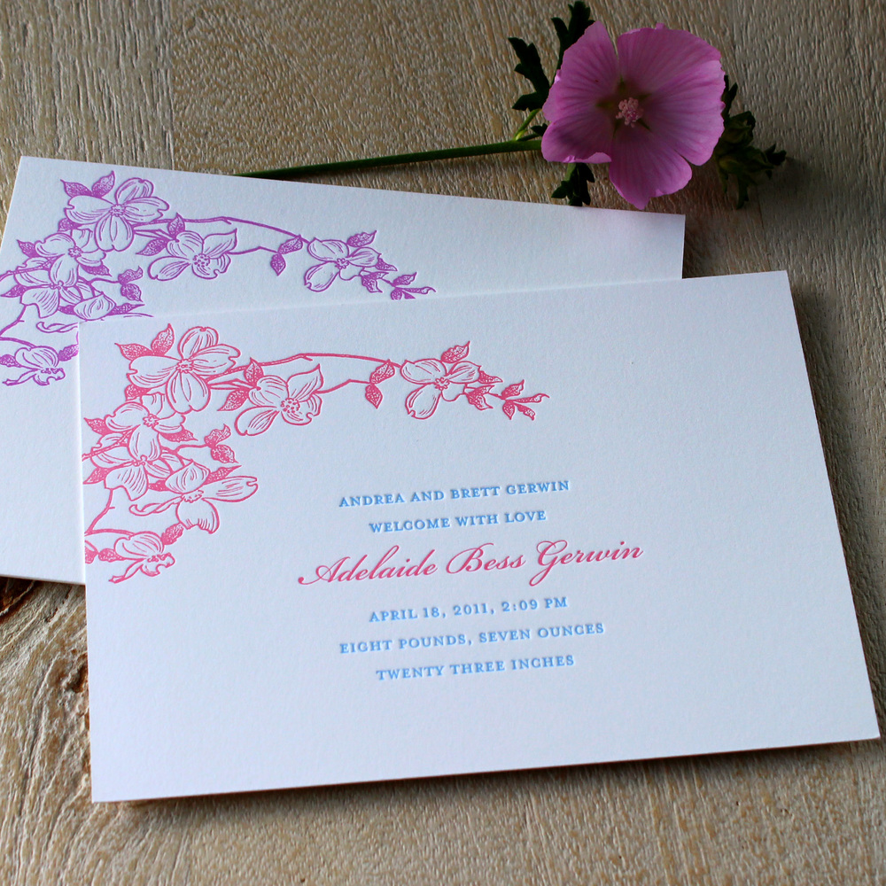 Flower Blossom Letterpress Baby Announcement