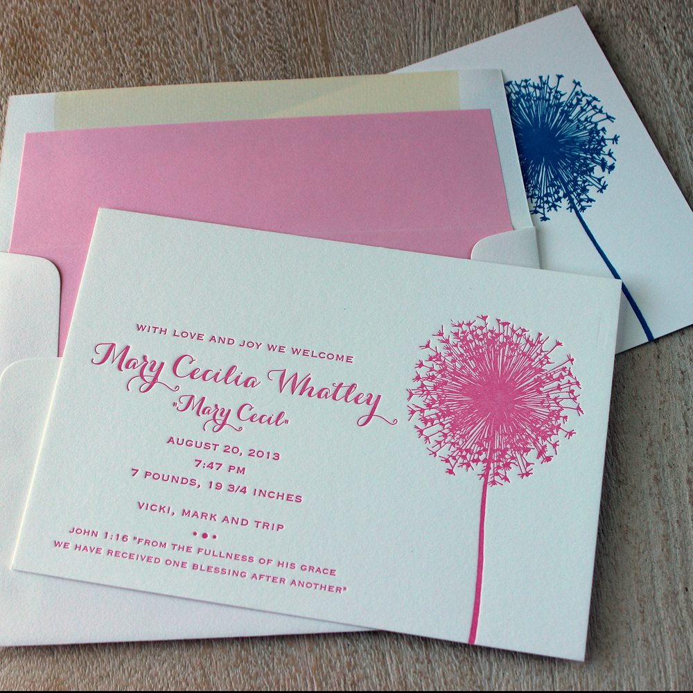 Pink Dandelion Letterpress Baby Announcement
