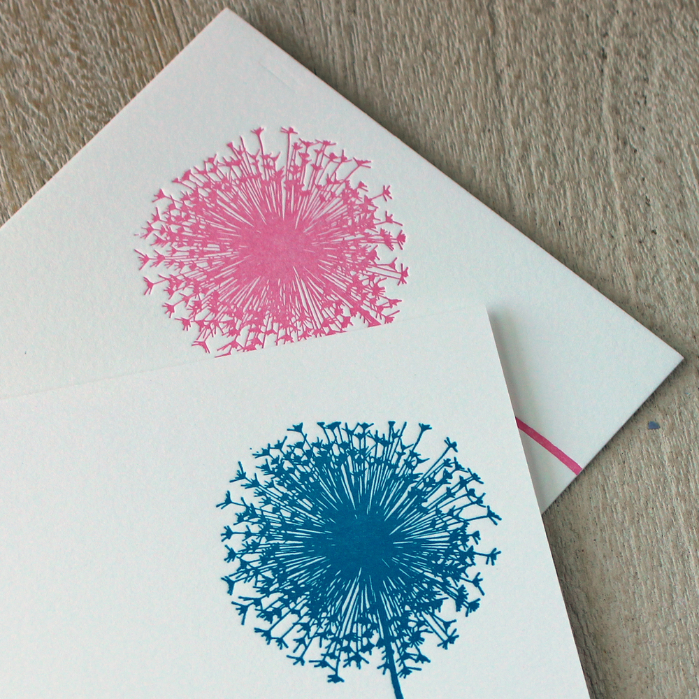 Pink and Blue Dandelion Letterpress Baby Announcement