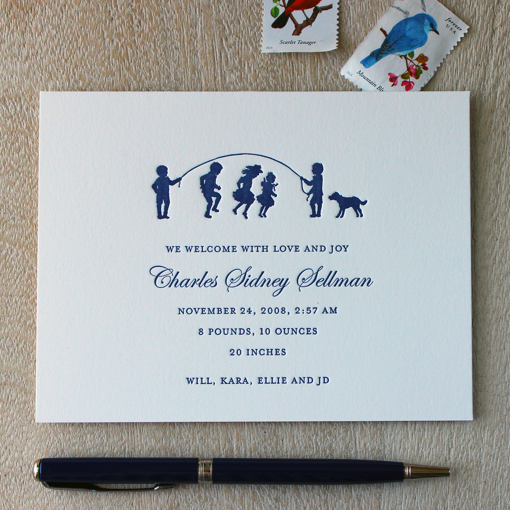 Navy Blue Jumprope Kids Letterpress Baby Announcement