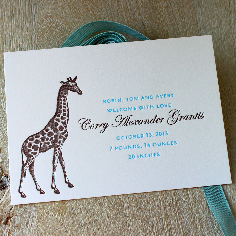 Blue Giraffe Letterpress Baby Announcements