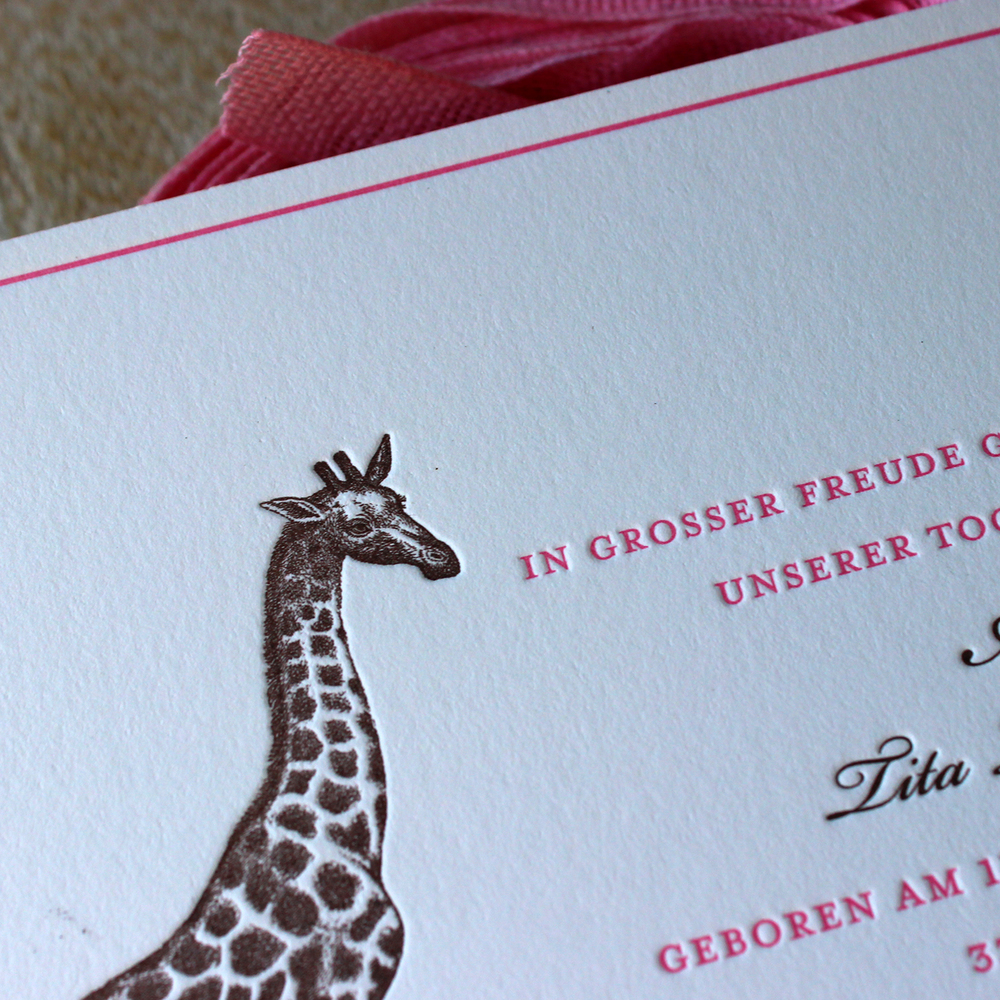 Pink Giraffe Letterpress Baby Announcements