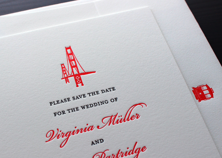 A formal san francisco wedding sesame letterpress design they loved the design of the save the date so we followed suit for the invitations the golden gate bridge topped this card in bright red as well stopboris Choice Image