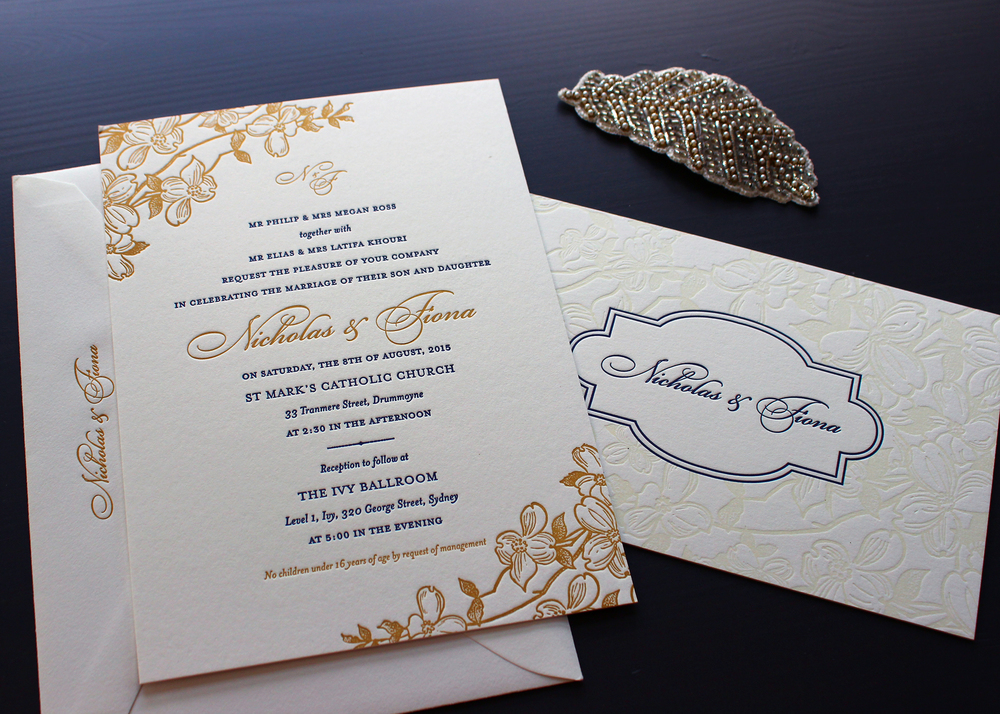 We Added A Custom Monogram In Gold To Top Off This Stunning Wedding  Invitation.