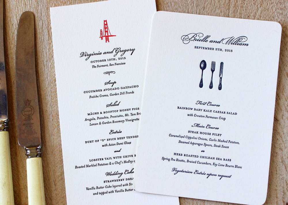 Letterpress menus for your wedding day sesame for Table 52 gaborone menu