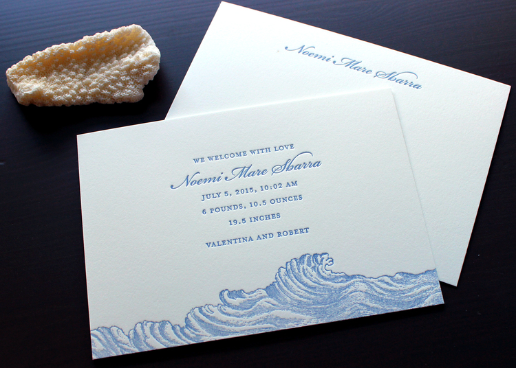 nautical wave letterpress baby announcementjpg