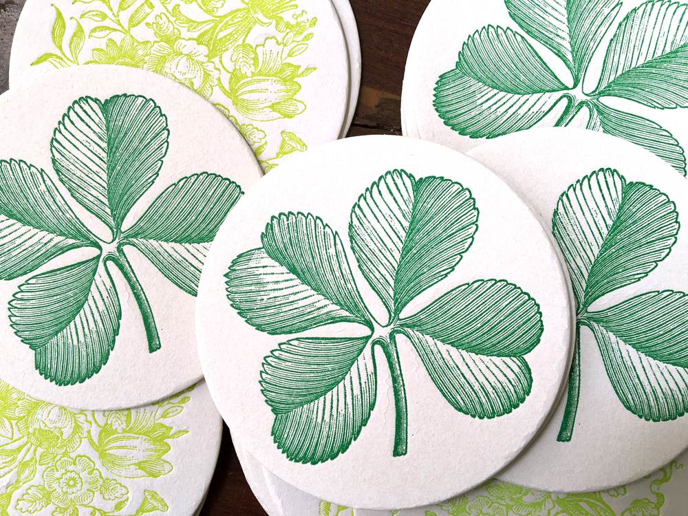 Green-Letterpress-Clover-Coasters