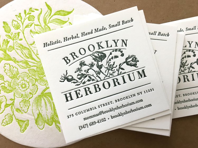 Business cards for brooklyn herborium sesame letterpress design by two brooklyn moms who wanted to create a line of skincare products that were healthy and environmentally friendly their design is simple and sweet colourmoves