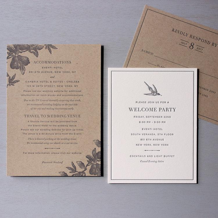 Kraft Invitations for an NYC Park Wedding — Sesame Letterpress + Design