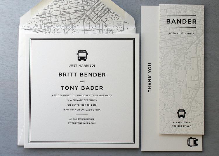 San francisco city bus wedding invitations sesame letterpress design sfwedding4g stopboris Choice Image