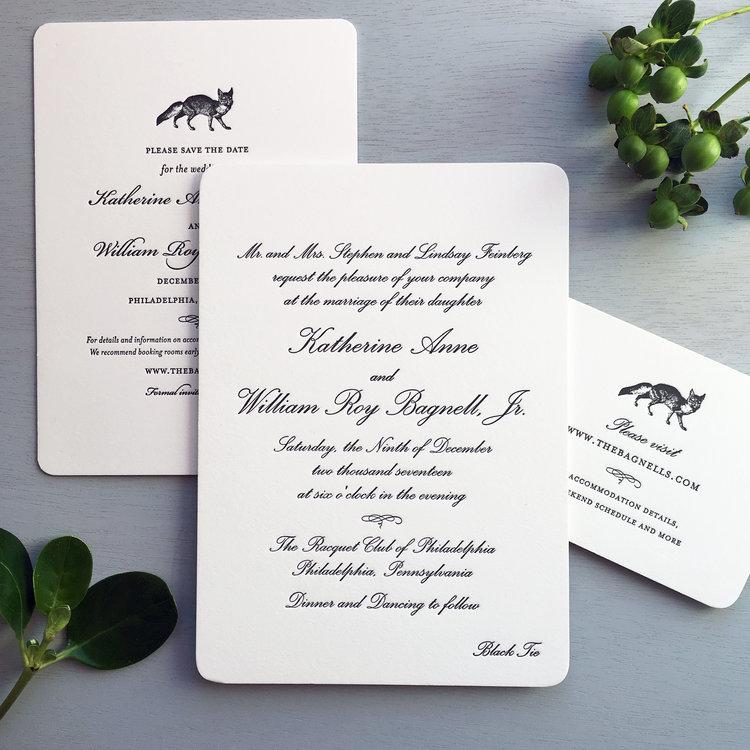 Black Tie Winter Wedding Sesame Letterpress Design