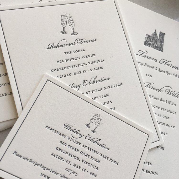 University of virginia wedding sesame letterpress design img1550g reheart Images