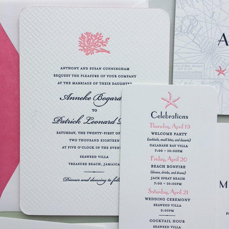 Jamaican Wedding Suite — Sesame Letterpress + Design