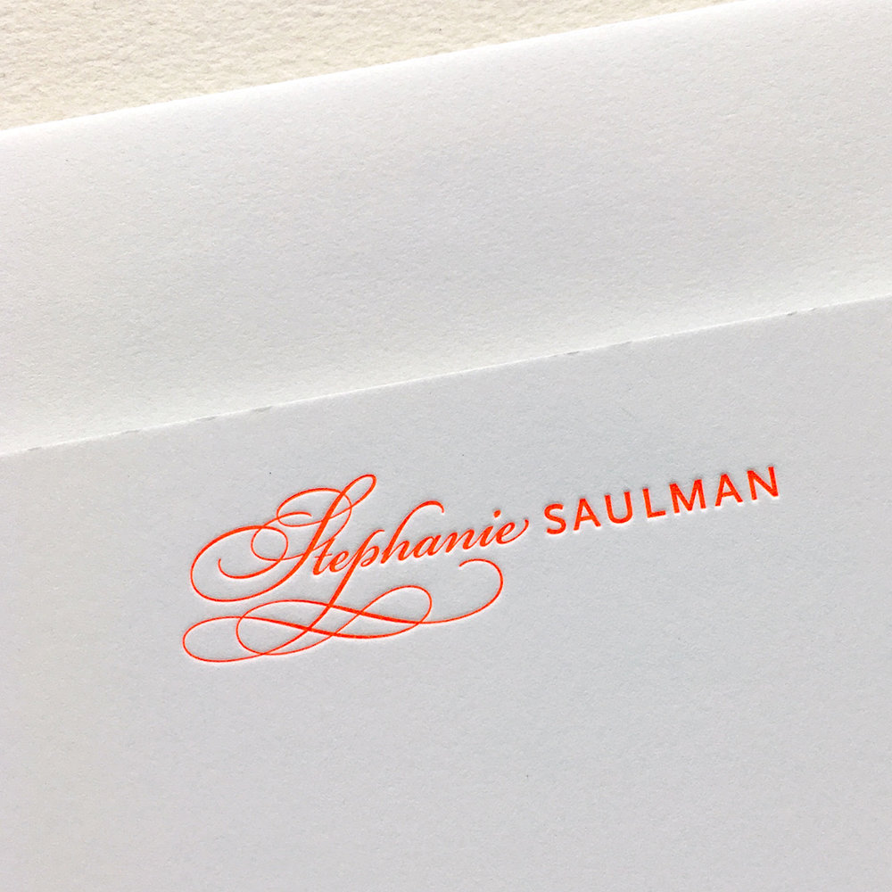 Custom letterpress note card