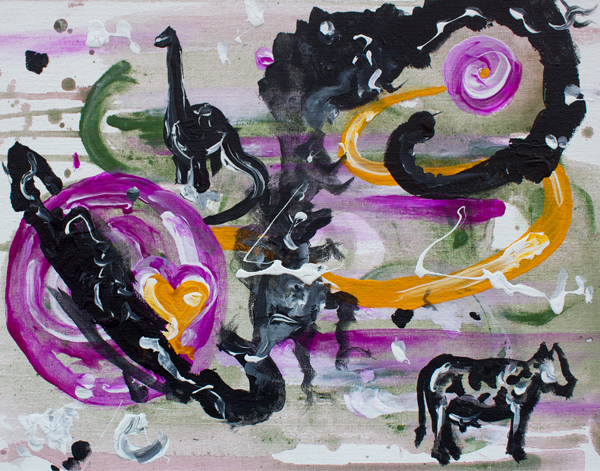 10.12.13  > Cows and Dinosaurs in Space > 14 x 10 inch Acrylic Paint­ing on can­vas > NOT AVAILABLE FOR PURCHASE