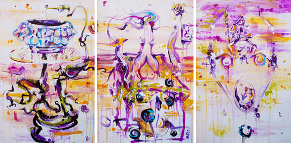 9.27.13  > Into Obliv­ion > The Ranch Ses­sions > Set of 3 24 x 36 inch Acrylic Paint­ings on wood > CLICK IMAGE TO PURCHASE