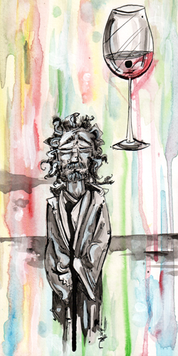 5.6.13  >   Imprint Recognition > Paintbrush Songs   > 6x12 inch India Ink and Watercolor on paper > CLICK IMAGE TO PURCHASE