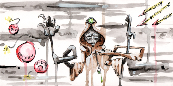 5.8.13  > Diminishing   > Paintbrush Songs   > 12x6 inch India Ink and Watercolor on paper > CLICK IMAGE TO PURCHASE
