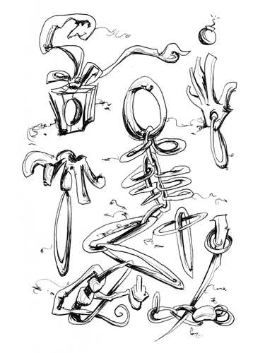 5.29.13  > Swiss Bones > Revival > 5.5x8.5 inch Pen Drawing on paper > CLICK IMAGE TO PURCHASE