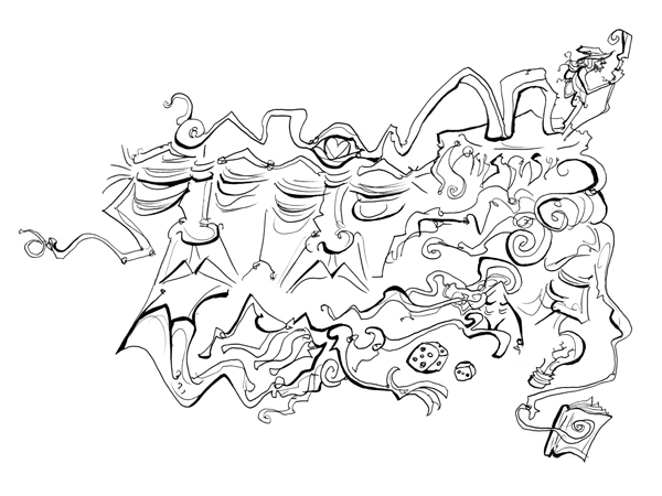 4.11.13 > Fighting Elijah Scmeus > Not Alone > 11x8.5 inch Pen Drawing on paper > NOT AVAILABLE FOR PURCHASE