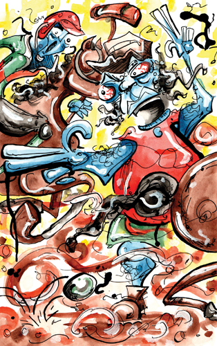 "2.14.13  >   Angel Dust And Polo > Illustration for the new novel ""Bar Mate"" by Joseph Rakowski > 8.5x11 inch India Ink and Watercolor on paper > CLICK IMAGE TO PURCHASE"