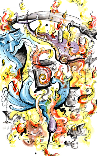"2.17.13  >   Liquor Bombs > Illustration for the new novel ""Bar Mate"" by Joseph Rakowski > 8.5x11 inch India Ink and Watercolor on paper > CLICK IMAGE TO PURCHASE"