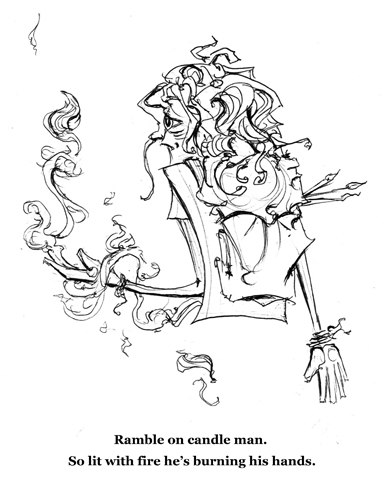 9.28.12  > Candle Man > Words > 8.5x11 inch Pen Drawing on paper > NOT AVAILABLE FOR PURCHASE