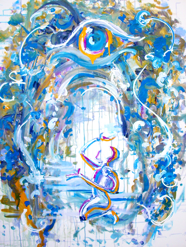 8.4.12  > Reaching For Vision > 36x48 inch Acrylic Painting on canvas. Live Painted 8.1.12. > NOT AVAILABLE FOR PURCHASE
