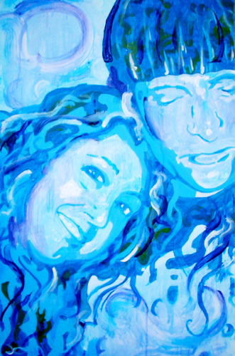 7.31.12  > Curled In Blue > 24x36 inch Acrylic Painting on canvas > NOT AVAILABLE FOR PURCHASE