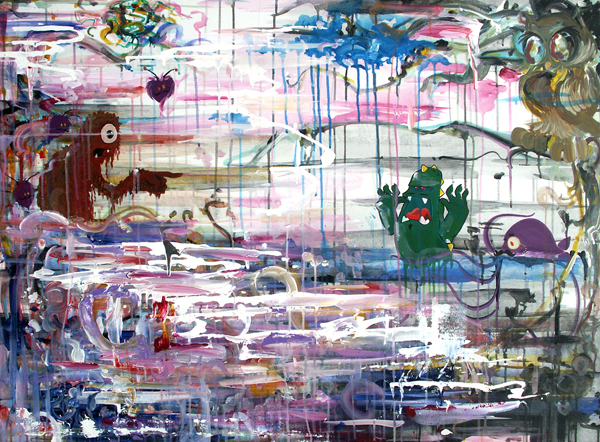 3.16.12  > Collaboration with Kiska Zilla II > 36x48 inch Acrylic Painting on canvas. Live Painted. > CLICK IMAGE TO PURCHASE
