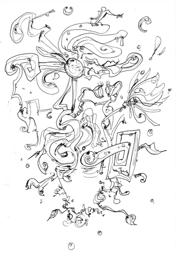 3.29.12  > Flowers In The Eyes > 8.5x11 inch Pen Drawing on paper > NOT AVAILABLE FOR PURCHASE