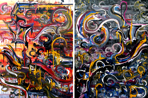 2.18.12 > Everything > Pair of 36x48 inch Acrylic Paintings on canvas. Live Painted 2.1.12. > CLICK IMAGE TO PURCHASE