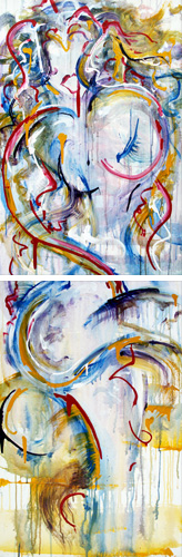 1.12.12 > Survival Alone > Pair of 24x36 inch Acrylic Paintings on canvas. Live Painted 1.5.12. > CLICK IMAGE TO PURCHASE