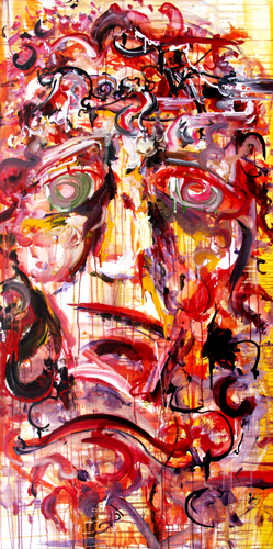 12.31.11  > Portrait Of A Tortured Man > 36x60 inch Acrylic Painting on canvas. Live Painted In A Dream. > CLICK IMAGE TO PURCHASE