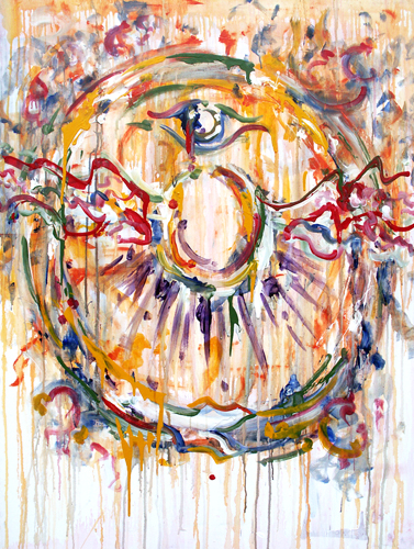 8.1.11  > Cyclical Souls In Flight > 36x48 inch Acrylic Painting on canvas. Live Painted 7.30.11. > CLICK IMAGE TO PURCHASE