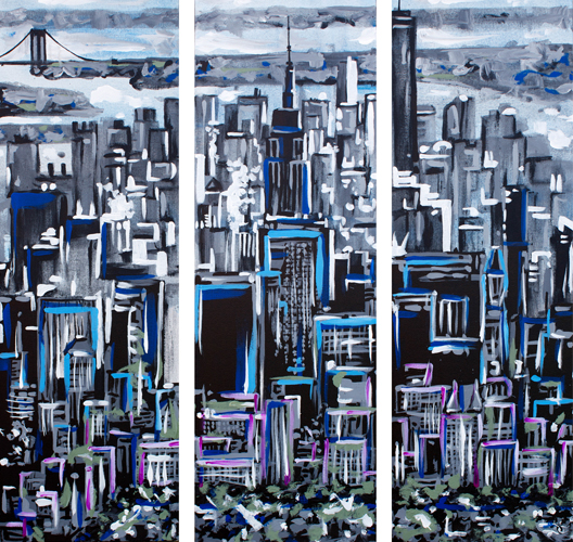 NY Through Clouds > 3 12x36 inch Acrylic Paintings on canvas