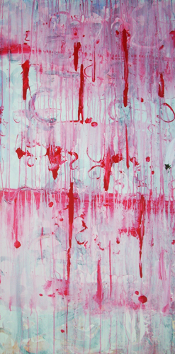 8.31.11  > Bleeding Lovely > 24x48 inch Acrylic Painting on canvas. Live Painted 8.25.11. > NOT AVAILABLE FOR PURCHASE