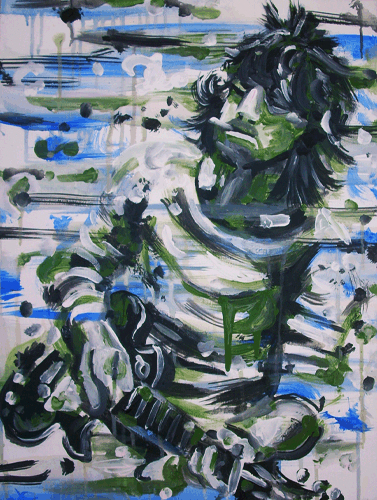 4.6.11 > Greens And Blues > 18x24 inch Acrylic Painting on canvas > NOT AVAILABLE FOR PURCHASE