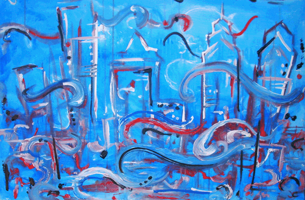 12.25.10  > Binded By City > 36x24 inch Acrylic Painting on canvas > NOT AVAILABLE FOR PURCHASE