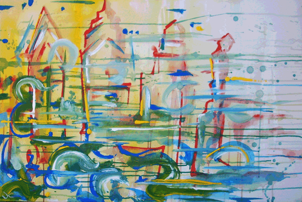 12.30.10  > Enlightened By City > 36x24 inch Acrylic Painting on canvas > NOT AVAILABLE FOR PURCHASE