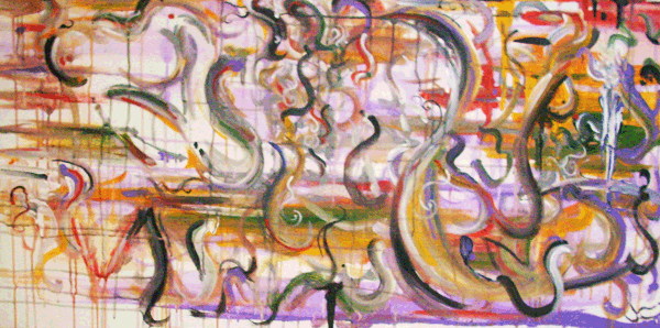 9.22.10  > Voluptuousity >   48x24 inch Acrylic Painting on canvas. Live Painted 9.17.10. > NOT AVAILABLE FOR PURCHASE