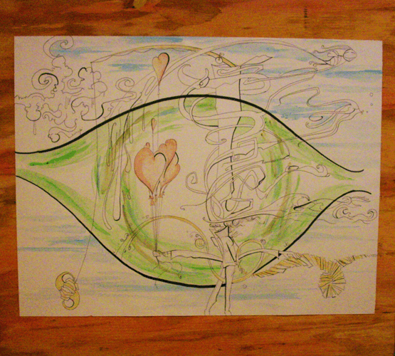 2.14.10  > Float Upon The Clouds > Auburn And Green > 18x12 inch Pen and Watercolor on paper > NOT AVAILABLE FOR PURCHASE