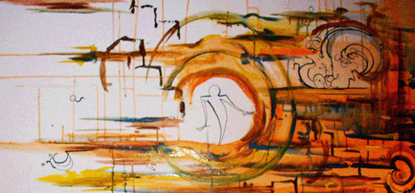 2.23.10  >   Party Time > 48x24 inch Acrylic Painting on canvas. Live Painted 2.16.10. NOT AVAILABLE FOR PURCHASE