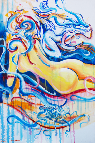 8.13.14  > Le Femelle Monde V > Collaboration with Kai Martin > 24x36 inch Acrylic Painting on canvas > CLICK IMAGE TO PURCHASE