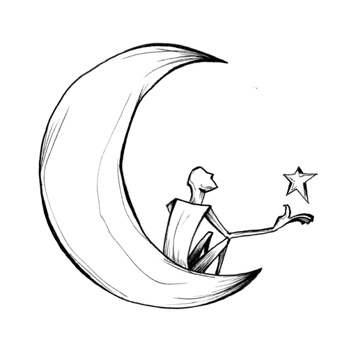 9.6.14  > Reach The Moon. Ask For A Star. > 8.5x11 inch Pen Drawing on paper > CLICK IMAGE TO PURCHASE